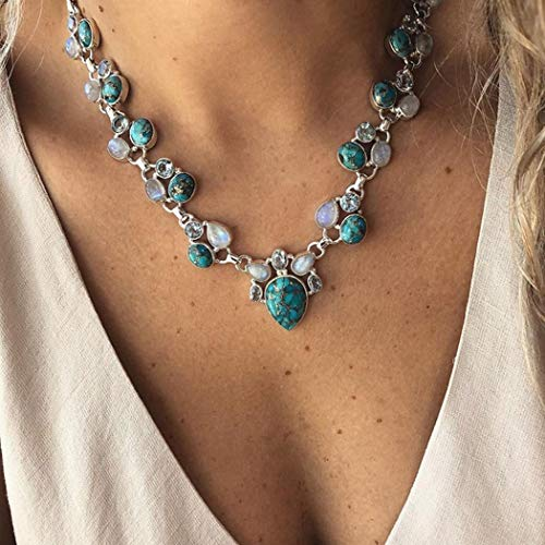 Unicra Boho Turquoise Pendant Necklace Crystal Beaded Necklaces Vintage Y-Necklace Jewelry for Women and girls Tassel Accessories for Party and Evening