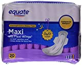 Equate Overnight Extra-Heavy Flow Maxi Pads with Wings, 20 count