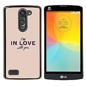Yo estoy enamorado de usted texto marrón amarillento- Metal de aluminio y de plástico duro Caja del teléfono - Negro - LG L Prime / L Prime Dual Chip D337