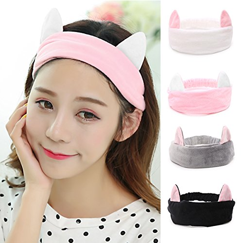 Women's Cat Ear Headband - 4 Packs VANZAVANZU Best Fashionable Cute Fluffy Elastic Makeup Headband Hairband for Shower, Face Washing, Facial Mask, Spa, Cosplay, Party