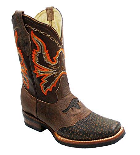 Stivali Da Cowboy Da Uomo In Vera Pelle Di Vacchetta Stampa Coccodrillo Rodeo Stivali Marroni
