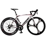VTSP Updated EB-7800 Road Bike Fashion Aluminium Frame 52cm Shimano TX 14 Speeds 700C 3 Spokes Road Bicycle For Man Mechanical Disc Brake Bicycle Birthday Gifts For Man (white) Jinshengyuan