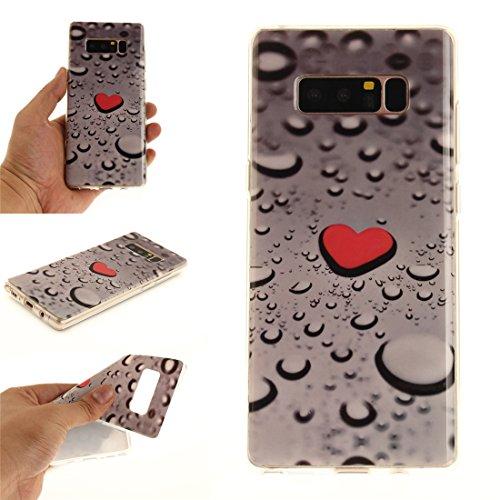 Hozor Samsung Galaxy Note8 / N9500 Cas, Motif Peint TPU Souple En Silicone Couverture Arrière Slim Fit Antichoc Scratch Résistant Cas De Téléphone De Protection Bord Transparent Waterdrop