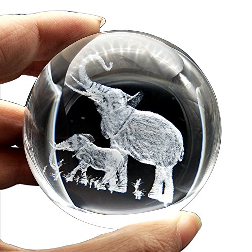 JINGDIAN Crystal Clear Home Decoration Elephant (Elephant Paperweight)