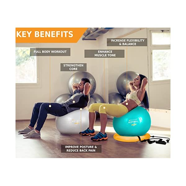 Exercise Ball Gym Yoga Fitness Trainer Balance W// Resistance Bands /& Pump 65cm