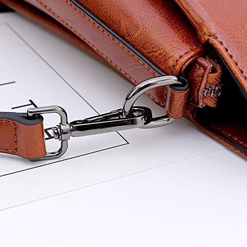 main souple à sac à grande une bandoulière fermeture Brown et cuir à glissière épaule Vintage capacité à Sac en ouverture élégant sac main fermeture et Simple UqcPZd
