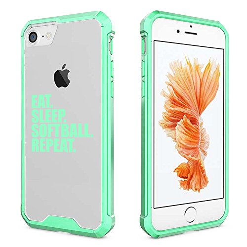 new concept 070ec fa0a0 For Apple iPhone Clear Shockproof Bumper Case Hard Cover Eat Sleep Softball  Repeat (Mint For iPhone 7)