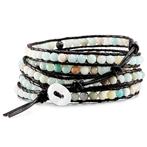 MOWOM Multicolor Alloy Genuine Leather Bracelet Bangle Cuff Rope Simulated Amazonite Stone Bead 5 Wrap Adjustable