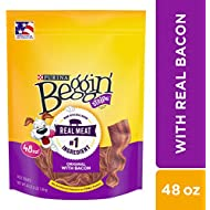 Purina Beggin' Strips Made in USA Facilities Dog Training Treats, Original With Bacon - 48 oz. Pouch