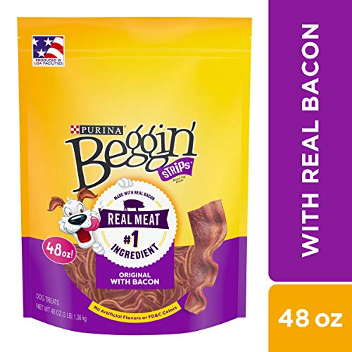 Purina Beggin Strips Made in USA Facilities Dog Training Treats, Original With Bacon - 48 oz. Pouch