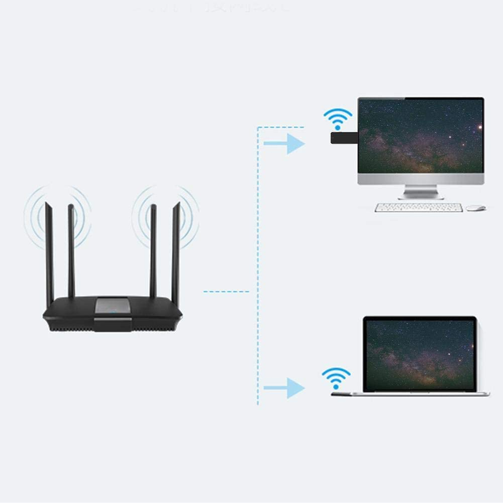 USB2.0//1.1 Interface Wireless Dual Band Network Adapter 802.11 b//g//n Protocols Supports Variety of Wi-Fi Encryption Modes WiFi Network Adapter Bewinner USB Dual Band Network Card