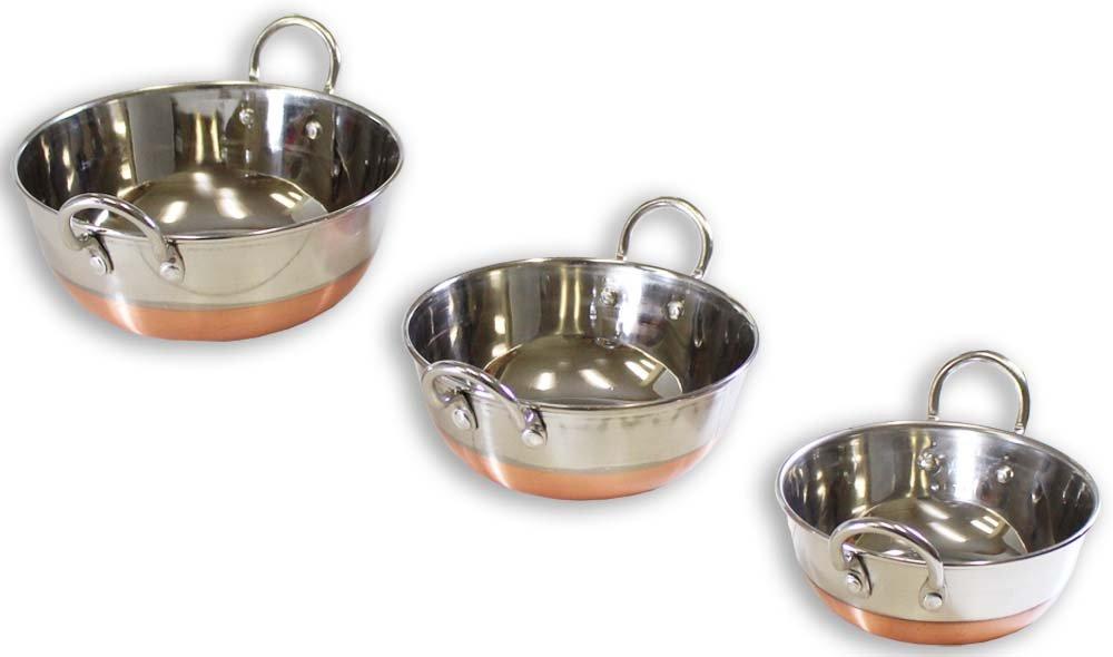 3 Piece Stainless Steel, Copper Bottom Wok Set