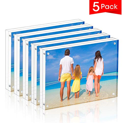 MeetU Acrylic Picture Frame 5x7,Clear Freestanding Double Sided 24mm Thickness Frameless Magnetic Photo Frames Desktop Display with Gift Box Package(5 Pack)