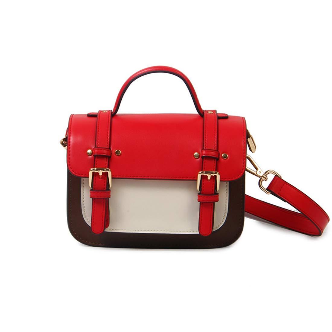 RABILTY Simple Retro Belt Buckle Stitching Hit Color Square Leather Shoulder Bag Messenger Bag Color : Red