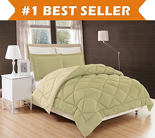 Elegant Comfort All Season Comforter and Year Round Medium Weight Super Soft Down Alternative Reversible 3-Piece Comforter Set, King, Sage/Cream (Sage Green Comforter Set)