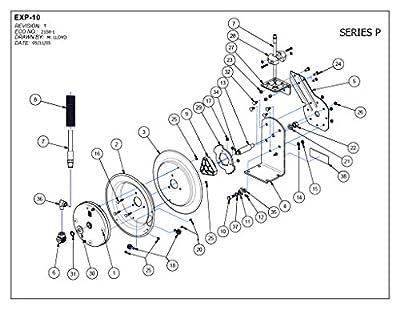 "Coxreels P-LP-110 Low Pressure Spring Rewind Hose Reel: 1/4"" I.D., 10' hose capacity, with hose, 300 PSI"