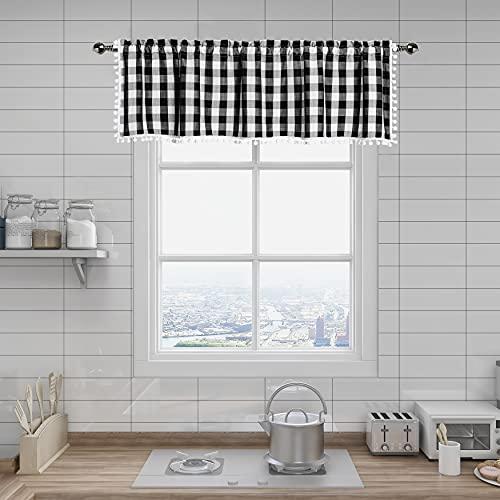 Black and White Buffalo Plaid Cafe Kitchen Curtain Valances, Buffalo Check Gingham Pom Pom Farmhouse Retro Window Treatment Valance for Bathroom Windows, 56 x 16, Black/White