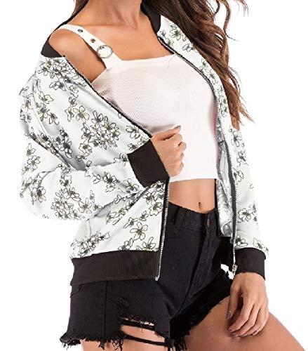 Collare Xinheo Baseball Lunghe Pattern10 Stare A Delle Tasche Stampa Donne Cappotto Zip Maniche A0zqFFE