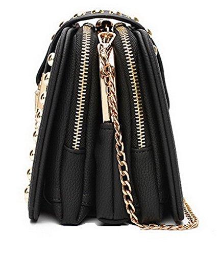 Di Attraversato Donne Fiori Moda Delle Borse Elaborazione Agoolar Dell'unità Pantaloni Neri Casuali wAUqnpREx