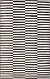 Unique Loom Williamsburg Collection Casual Striped Black Area Rug (5' x 8')
