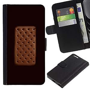 Planetar® Modelo colorido cuero carpeta tirón caso cubierta piel Holster Funda protección Para Apple (5.5 inches!!!) iPhone 6+ Plus ( Cream Sandwich del lunar de Brown)