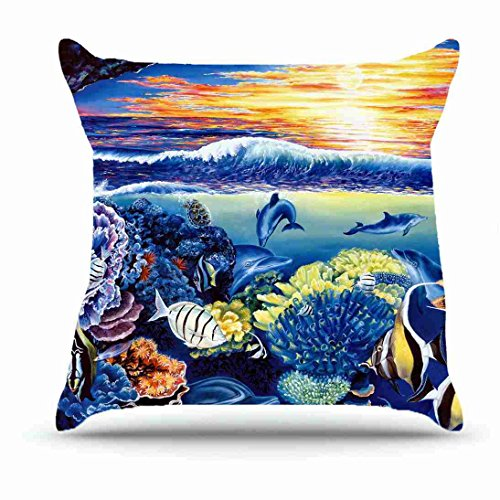[Throw Pillowcase 18 X 18 Inches Cotton Pillowcases Decorative Pillow Cover Case with Hidden Zipper Cushion Covers - Animals Corals sea Fish Dolphins belinda leigh sunset Turtles Art For Living Room] (Series Cubicle Office Set)