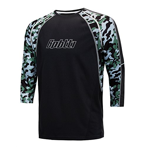 Bpbtti Men's MTB BMX Mountain Bike 3/4 Sleeve Biking Cycling Jersey - Moisture-Wicking and Breathable (Large, White) ()