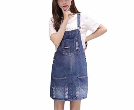 a02c821a13 Elwow Women s Lady s Summer Distressed Knee Long A Line Denim Cotton  Dungarees Skirt Dress Playsuit (