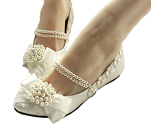 Mary Dress Flats Bows Jane Across Getmorebeauty Women's A Wedding Tops Pearls Shoes 5AxS6wgfqg