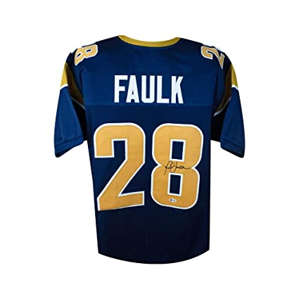 brand new b6f58 9ae22 Marshall Faulk Autographed St Louis Rams Custom Navy ...