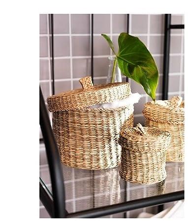 IKEA - LJUSNAN - Juego de 3 cestas con tapa, de junco marino: Amazon.es: Hogar