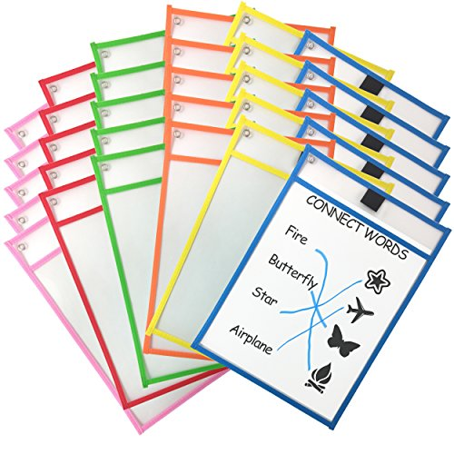 Clipco Dry Erase Pocket Sleeves Assorted Colors (30-Pack)