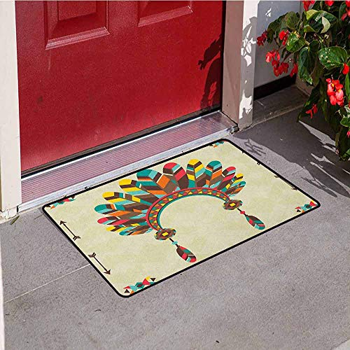 Gloria Johnson Ethnic Front Door mat Carpet Retro Headband in Tribal Design Colorful Feathers Arrows and Geometrical Motifs Machine Washable Door mat W19.7 x L31.5 Inch Multicolor