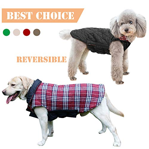 (IREENUO Pet Dog Jackets Windproof Warm Coats - Snug British Style Plaid Reversible Vest Clothes Autumn Winter Padded Waistcoat Chest Protector Suitable for Small Medium Large Dogs (XS-3XL) Red M)