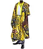 Zimaes Mens Contrast Basic Cotton Plus-size African Printed Long Robe Yellow 2XL