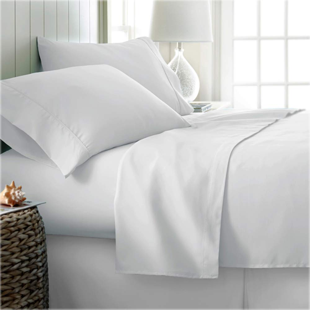 Nish & Joe 400 Thread Count 100% Cotton Sheet Set Luxury Bed Linen Home & Hotel Collection Natural Soft & Silky Sateen Weave Sheets and Pillowcases Upto 15 Inch Deep Pocket (King Size White)