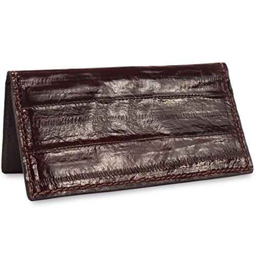 Nylon Checkbook Cover - Brown Eel Skin Leather USA Made Checkbook Cover Handmade