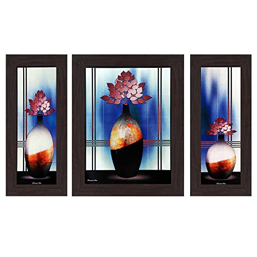 Wens Floral MDF Wall Art (14.5 cm x 29 cm x 1 cm, Set of 3, WSP-4134)