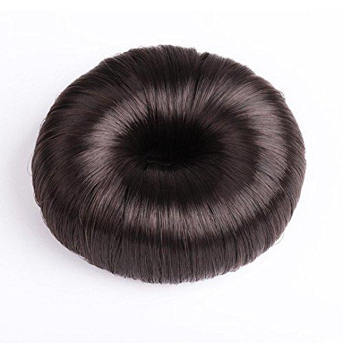 Creazy Women Synthetic Fiber Hair Bun Donuts Ring Blonde Hair Extension Wig (dark coffe)