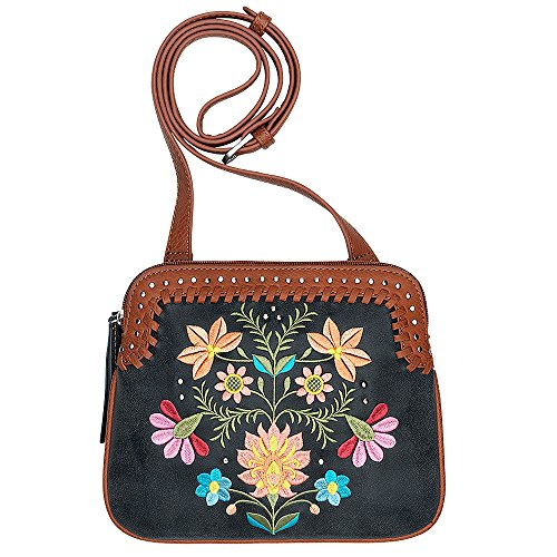 AMERICAN WEST BANDANA LEATHER MAYA CROSSBODY LADIES HANDBAG CHARCOAL BLACK by Bandana By American West