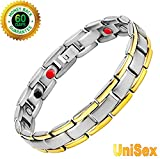 Titanium Magnetic Bracelet Therapy with 4 Element for Men/Women Arthritis Pain Relief Carpal Tunnel Insomnia+Hematite Pendant Necklace( Powerful Set)