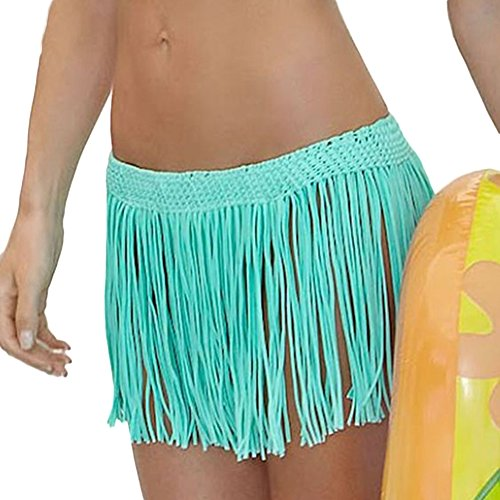 DELEY Mujeres Niñas Ganchillo Borla De Falda Corta Trajes De Baño Bikini Cubrir Verano Trajes De Baño Verde