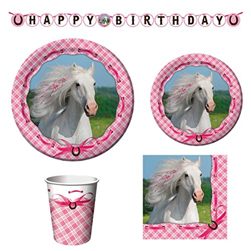 Heart My Horse Birthday Party Supply Bundle of Pink Dinner and Dessert Plates, Napkins, Cups and Banner (Serves - Paper Pink 7' Dessert Plates