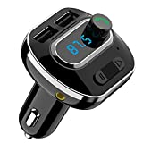 Criacr [Upgraded Version] Bluetooth FM Transmitter for Car, Wireless Radio Transmitter Car Adapter, with Dual USB Charging Port, Quick Charge 3.0, Music Player Support Aux Output, Hands-Free Call