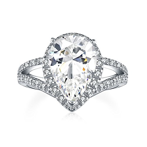 UMODE Pear Cut Engagement Ring Halo 927 Silver Solitaire Cubic Zirconia Teardrop Wedding Ring for ()