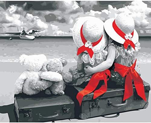 グレー2つの赤いタオルの女の子フィギュアDIYデジタル絵画による数字現代の壁アートキャンバス絵画ユニークなギフト家の装飾40x50cm
