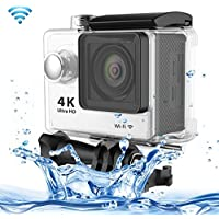 Professional Product Easy to Use H9 4K Ultra HD1080P 12MP 2 inch LCD Screen WiFi Sports Camera, 170 Degrees Wide Angle Lens, 30m Waterproof ( Color : White )