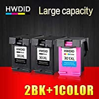 HAMISS Refilled 301XL Ink Cartridge Replacement for HP 301 XL CH561EE CH562EE for HP Deskjet 1000 1050 2000 2050 2510 Envy 5530