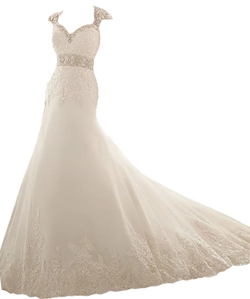 Hblld Womens Backless Lace Wedding Dress Bridal Gowns