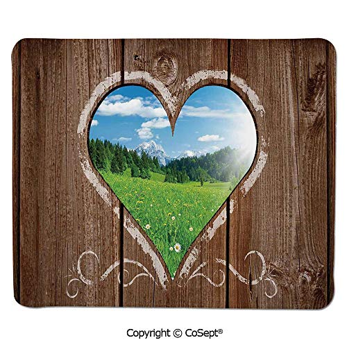 Premium-Textured Mouse pad,Heart Window View from Wooden Rustic Farm Barn Shed with Chalk Art Image,for Laptop,Computer & PC (11.81